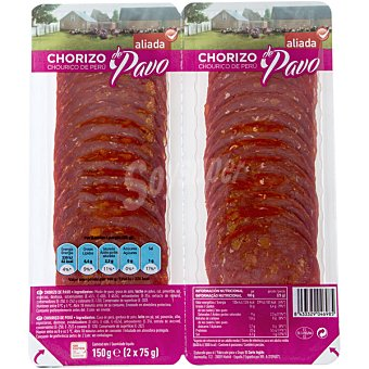 Aliada Chorizo de pavo pack 2x75 g envase 150 g Pack 2x75 g
