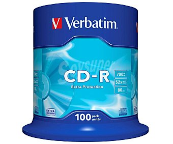 Verbatim Tarrina de 100 cd-r Datalife 700MB 52X verbatim cd-r 52x