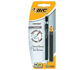 Bic Portaminas con grosor de escritura de 2 milimetros + 6 minas extraresistentes de dureza HB, criterium 1 unidad.