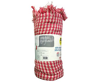 Auchan Colcha de hilo con estampado pata de gallo color rosa y crudo, 240x250 centímetros 1 unidad
