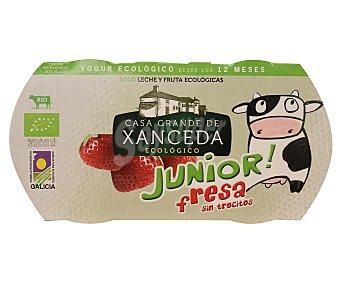 Casa Grande de Xanceda Yogur cremoso ecológico Junior con fresas Pack de 2x125 g