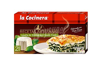LA COCINERA RECETAS ARTESANAS Lasaña de espinacas y queso fresco  estuche 530 g