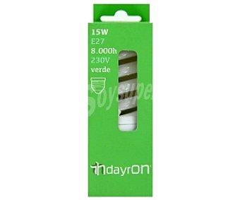 SEVENON Bombilla bajo consumo espiral, E27 15W Verde, vida útil estimada:8000Hrs 1 Unidad
