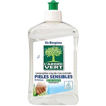 L'ARBRE VERT Lavavajillas a mano concentrado Pieles Sensibles ecológico e hipoalergénico sin perfume botella 500 500 ml