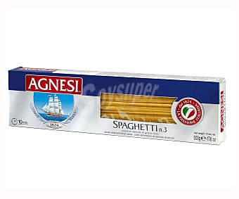 Agnesi Espaguetis Nº 3, pasta de sémola de trigo duro de calidad superior 500 Gramos