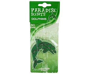 PARADISE SCENTS Ambientador de Coche Fabricado en Celulosa para Colgar, con Forma de Delfín y con Olor a Refrescante Pino 1 Unidad