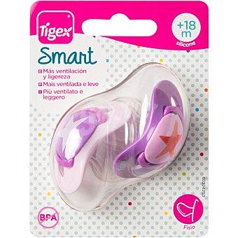 Tigex Smart chupetes fisiológicos con tetina de silicona +18 meses colores surtidos Blister 2 unidades