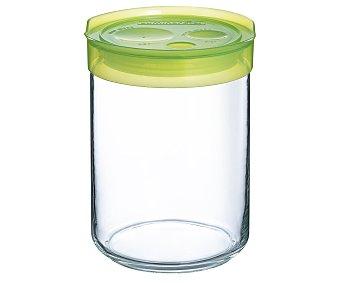 LUMINARC Tarro para conservación de alimentos fabricado en vidrio con tapa de plástico color verde, cierre hermético, 1 litro de capacidad 1 unidad