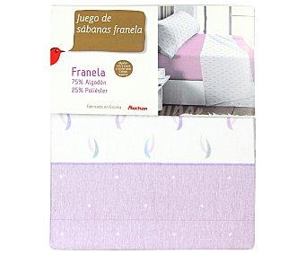 Auchan Juego de sábanas de franela 100% algodón color gris, 105cm 1 unidad