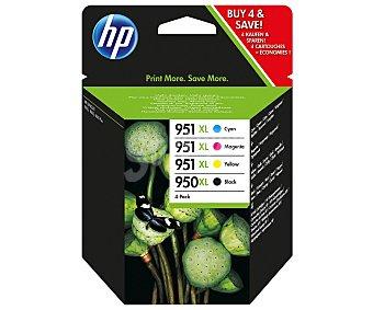 HP Pack de cartuchos de tinta 950XL/951XL, Negro, cian, magenta y amarillo, compatible con impresoras: Officejet Pro 8100, Pro 8600