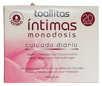 Deliplus Toallitas humedas intimas (envase individual) Paquete 20 u