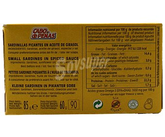 Cabo de Peñas Sardinilla picante en aceite vegetal 60 g