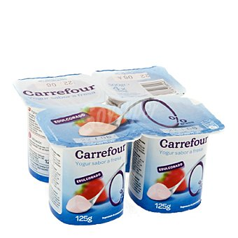 Carrefour Yogur desnatado sabor fresa Pack de 4x125 g