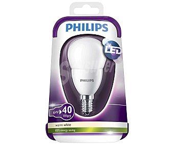 Philips Bombilla led esférica de 6W, con casquillo E14 (fino) y luz cálida philips