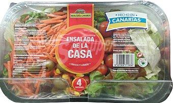 Mesturados canarios Ensalada de la casa ( lechugas variadas, rúcula, col lombarda, zanahoria, tomate cherry, maiz y aceitunas verdes) Bandeja 400 g