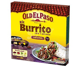 Old El Paso Kit para hacer burritos con tortillas de trigo, salsa original de tomate, pimiento y cebolla suave más sazonador de burritos 510 gramos