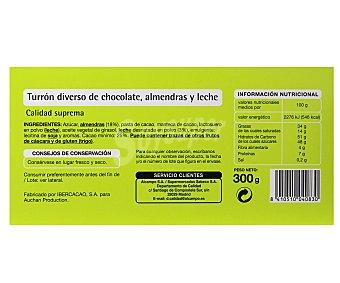 Productos Económicos Alcampo Turrón de chocolate con almendras 300 gramos