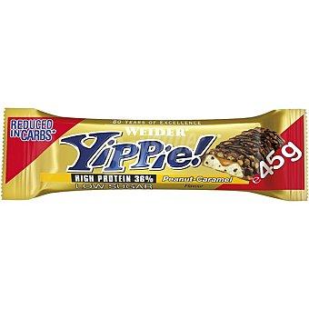 Weider Yippie barrita 36% proteína baja en carbohidratos y azúcar sabor cacahuete caramelo Envase 45 g