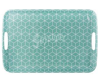 Gers Bandeja de melamina color verde con diseño de cuadros 3d, 46x31cm, Gers.