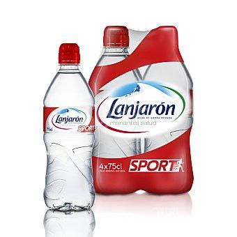 Lanjarón Agua mineral sin gas con tapón sport 4 botellas de 75 cl
