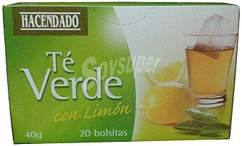 Hacendado Infusión te verde con limón 20 bolsitas (Paquete 40 g)