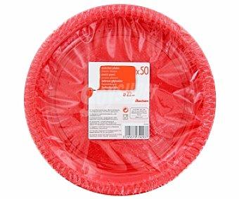 Auchan Platos rojos 22cm 50 Unidades