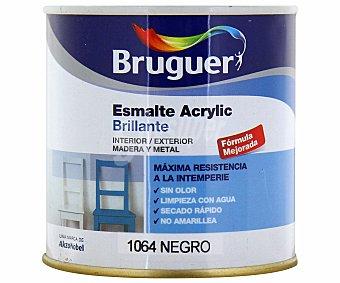 BRUGUER Esmalte decorativo acrílico, de color negro y con acabado brillante 0,25 litros