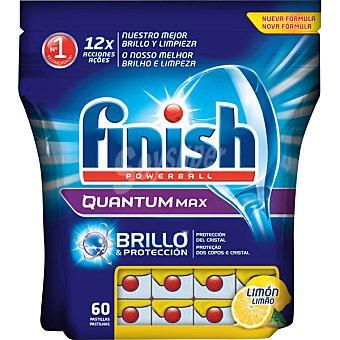Finish Detergente lavavajillas Power Ball Quantum Max limón bolsa 60 pastillas brillo y protección del cristal Bolsa 60 pastillas