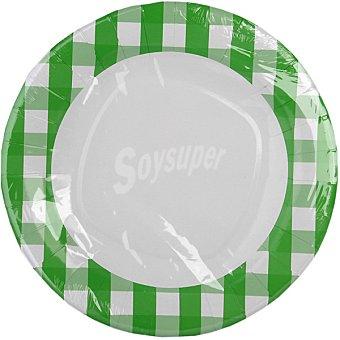 NV CORPORACION Plato de cuadros verdes 28 cm Paquete 4 unidades