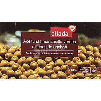 Aliada Aceitunas manzanilla rellenas de anchoa pack 3 latas 150 g neto escurrido Pack 3 latas 150 g