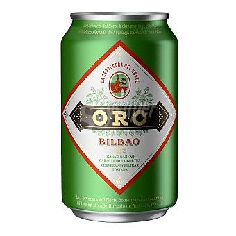 Oro Cerveza tostada sin filtrar de Bilbao Lata 33 cl