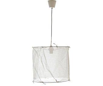 Dupi Lámpara de techo cubierta con velo decorativo color blanco, forma cilíndrica, 42 cm de diámetro, DUPI.