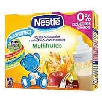 Nestlé Papilla líquida con leche y cereales multifrutas a partir 6 meses Pack 2 x 250 cc