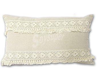 Auchan Cojín de lino color crudo natural con bordados, cierre de cremallera, 30x50 centímetros 1 unidad