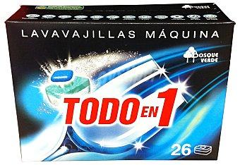 Bosque Verde Detergente lavavajillas pastillas todo en 1 CAJA 26 u