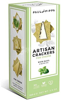 Paul and Pippa Artisan crackers artesanos con albahaca Envase 100 g