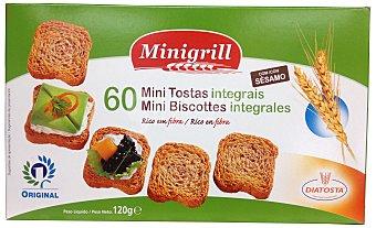 MINIGRILL Pan tostado integral biscote mini cuadrado tipo canape Caja de 120 g