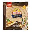 Wraps integral sin lactosa 348 g Mission