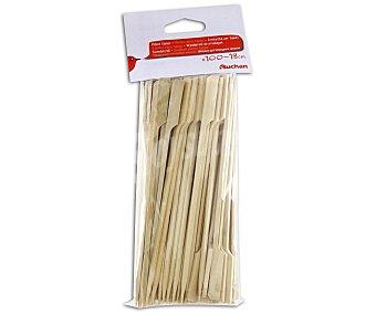 AUCHAN Juego de 100 pinchos de bambú para brochetas, 18 centímetros 100 unidades