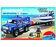 Playset City Action, coche de policía con lancha, modelo 5187 playmobil City Action 5187 Coche y lancha  Playmobil