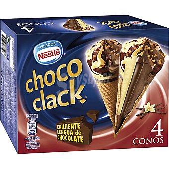 NESTLE CHOCOCLAK Conos de helado con crujiente lengua de chocolate 4 unidades estuche 360 ml 4 unidades