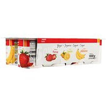 Eroski Basic Yogur de fresa-plátano-limón Pack 8x125 g