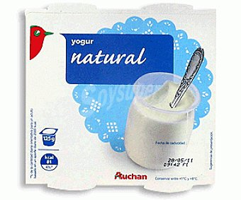 Auchan Yogur Natural Leche Entera 4x125g