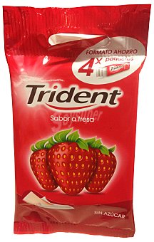 Trident Chicle fresa laminas sin azucar Pack 4