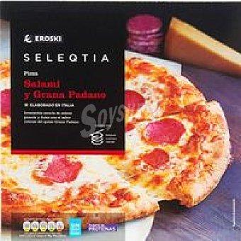 Eroski Seleqtia Pizza de salami-grana padano Eroski 380 g
