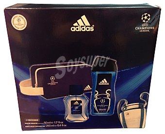 ADIDAS Lote hombre UEFA Champions League eau de toilette vaporizador 50 ml + gel de baño 150 ml + neceser Vaporizador 50 ml + gel de baño 150 ml + neceser