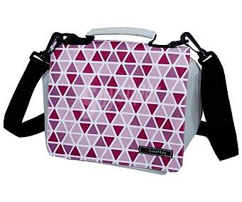 IRIS Smart Bolsa porta alimentos o lunchbag de tela flexible con diseño geométrico rosa y gris, Smart IRIS.