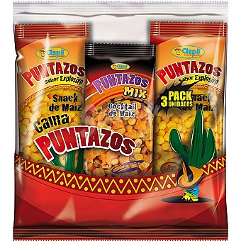 ASPIL Puntazos Pack 2 snacks de maíz Cocktail de maiz bolsa 40 g bolsas 48 g + 1
