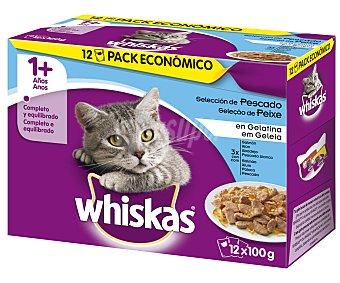 Whiskas Comida para gatos adultos húmeda a base de pescado 12 uds. de 100 gr