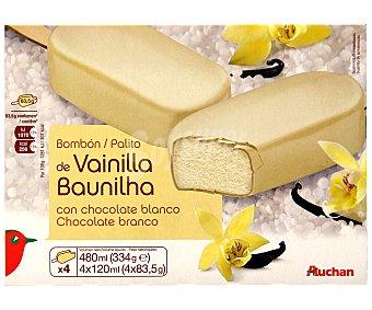 Auchan Bombón helado gigante de vainilla con cobertura de chocolate blanco Pack 4 unidades de 120 mililitros